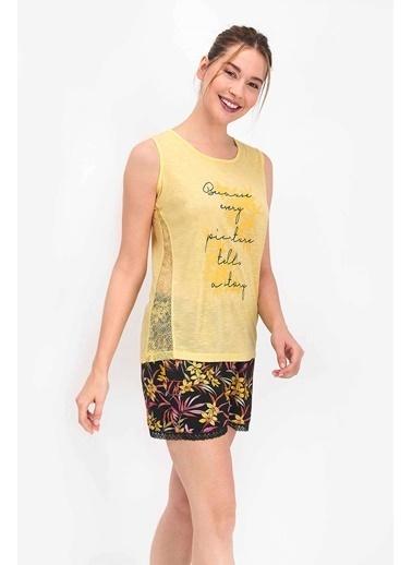 Arnetta Floral Gül Kurusu Kadın Şort Takım Sarı
